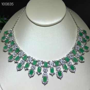 Uloveido Natural Green Emerald Wedding Pendant Women 925 Sterling Silver Gemstone Anniversary Necklace Pendant for Women FN277 - DISCOUNT ITEM  20% OFF All Category