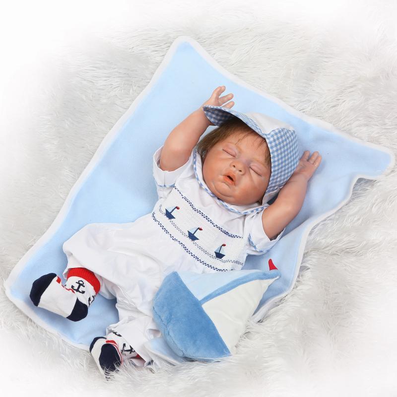 50 cm corps entier Silicone Reborn bébé garçon dormir poupée jouets 20