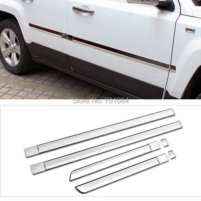 ФОТО 6 Piece Body Door Sills Side Molding Trim Cover For Jeep Patriot  2011 2012 2013 2014 2015 2016 [QP1034]
