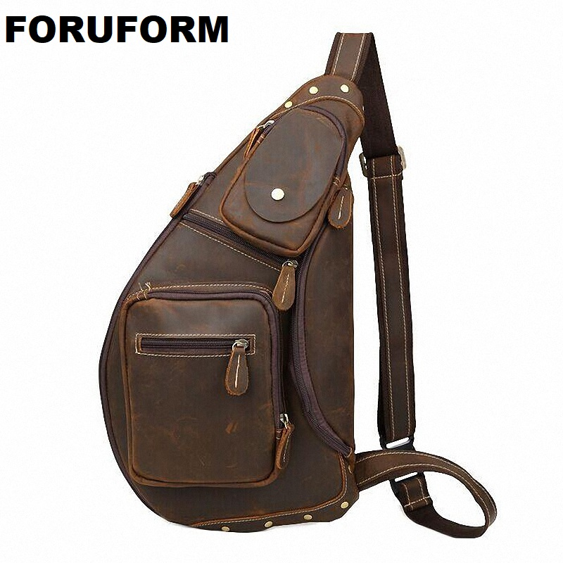 New male chest bags High Quality Vintage Casual Crazy Horse Leather Genuine Cowhide Men Chest Bag Messenger Bags For Man LI-1096 2017 summer high capacity chest bag for men