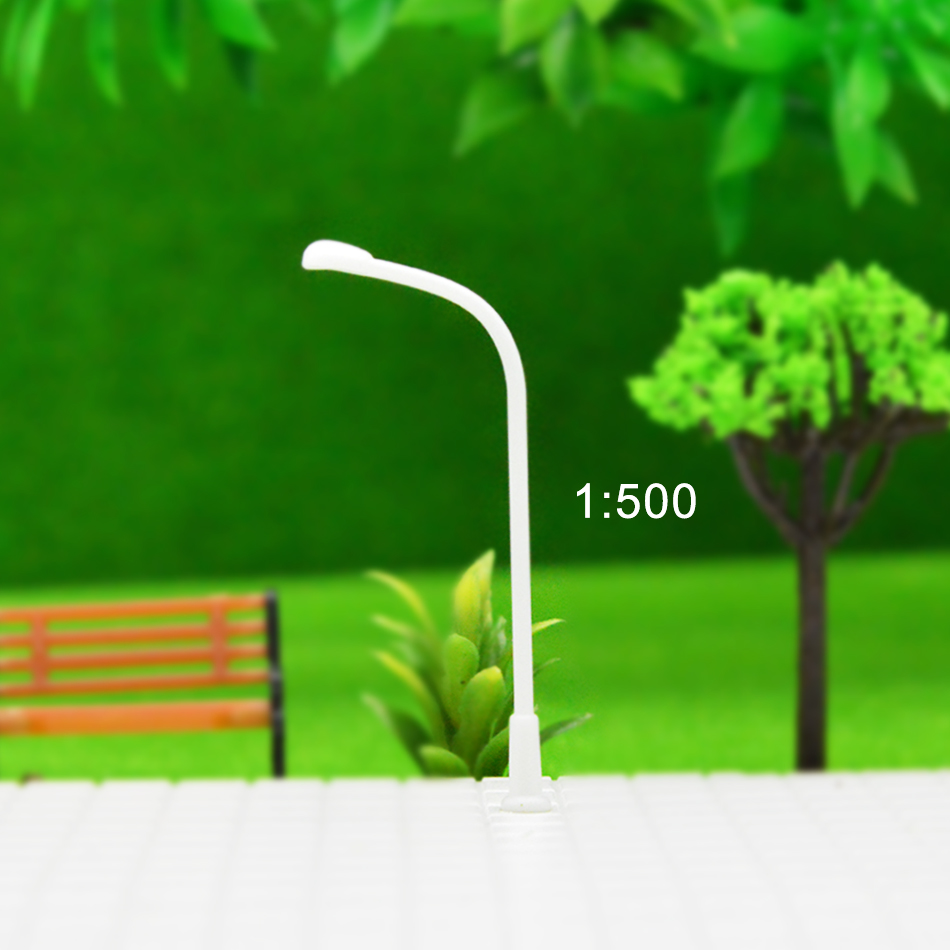 100pcs Layout Streets Lamp Model Scale 1:500 Plastic Single Head Light Lamppost Model Railway Street Light