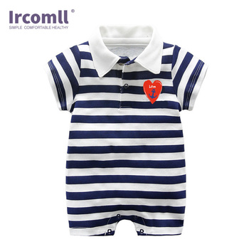 2018 Baby Boy Summer Clothes Newborn Baby Rompers Combed Cotton Short Sleeve Turn-down Collar Striped Jump suit  Infant Clothing