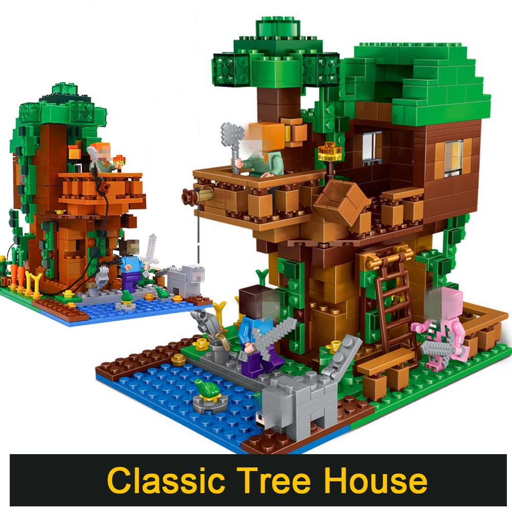 Classic Tree House with 3 Figures 402pcs Minecrafted Building Blocks Compatible Legoed city Educational Toys for Children Gift 378pcs 4 in 1 minecrafted building blocks compatible legoed city figures dragon bricks set educational toys for children gift