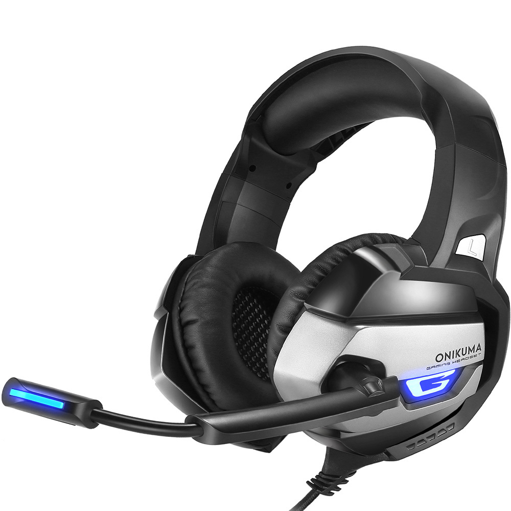 ONIKUMA K5 3.5mm Gaming Headset Gamer Casque Deep Bass Game Headphones For Computer PC PS4 Laptop Notebook With Mic LED Light salar c13 wired gaming headset deep bass game headphones best casque gamer with mic led light headphone for computer pc gamer