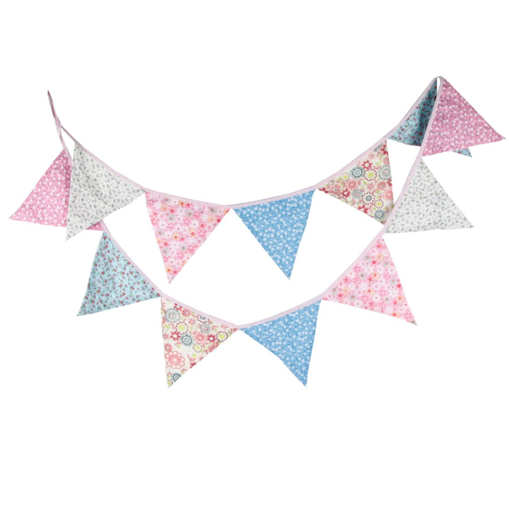 12 Flags 3.2m Cute Cotton Fabric Banners Personality Wedding Bunting Flags Colorful Vintage Party Baby Show Garland Decoration