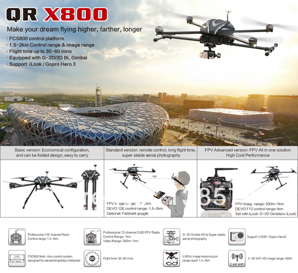 Walkera New Product QR X800 BNF GPS Quadcopter with Long time flight for Professional Aerial Photography walkera qr x350 5 ch one key go home r c quadcopter w gps altitude hold system bnf white