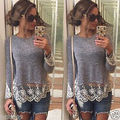 Fashion Women Summer Vest Top Long Sleeve Casual  T-Shirt Lace