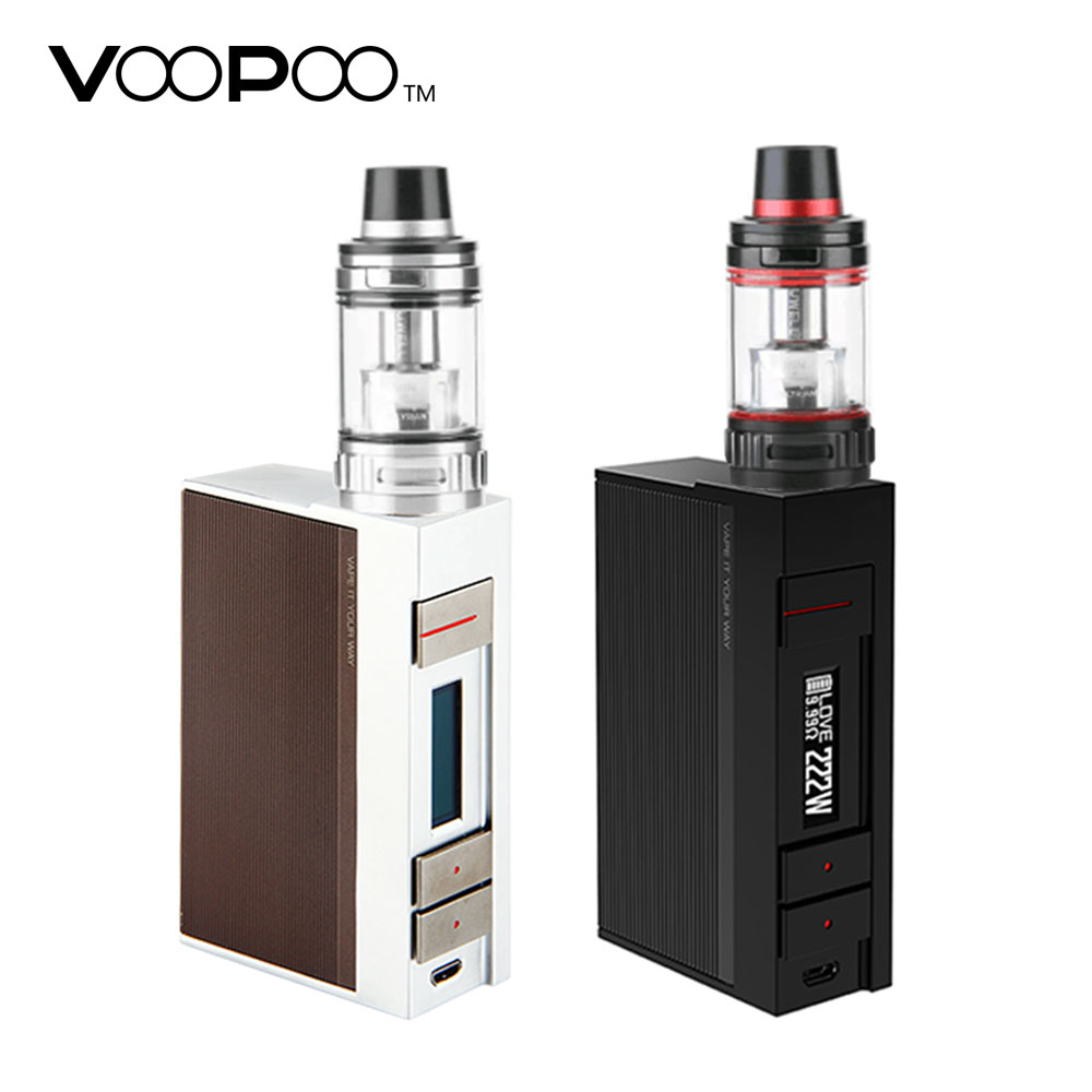 Original VOOPOO Alpha One 222W TC Kit with Alpha One Box MOD & 5ml 0.15ohm Valyrian Tank No 18650 Battery E-cigarettes Vape Kit new arrival voopoo drag 157w tc box mod black drag resin 157w box mod vape with us gene chip temperature control resin box mod