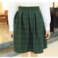 Autumn and winter women fashion Casual retro England lattice high waist skirt all-match In the long section Umbrella skirt