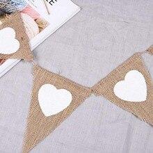 4,5 M 13 banderas Vintage yute arpillera de arpillera amor corazón Banners para fiesta boda Banner guirnalda tienda Decoración