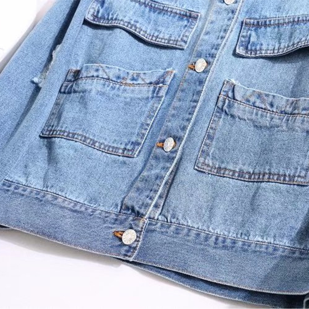 Jeans Primavera Las Tamaño Chaquetas Corto Breasted Básicos Moda Chaqueta Agujeros Plus Casuales De Blue Mujeres Otoño Abrigos Light 2019 Solo Denim dIOwxq4d