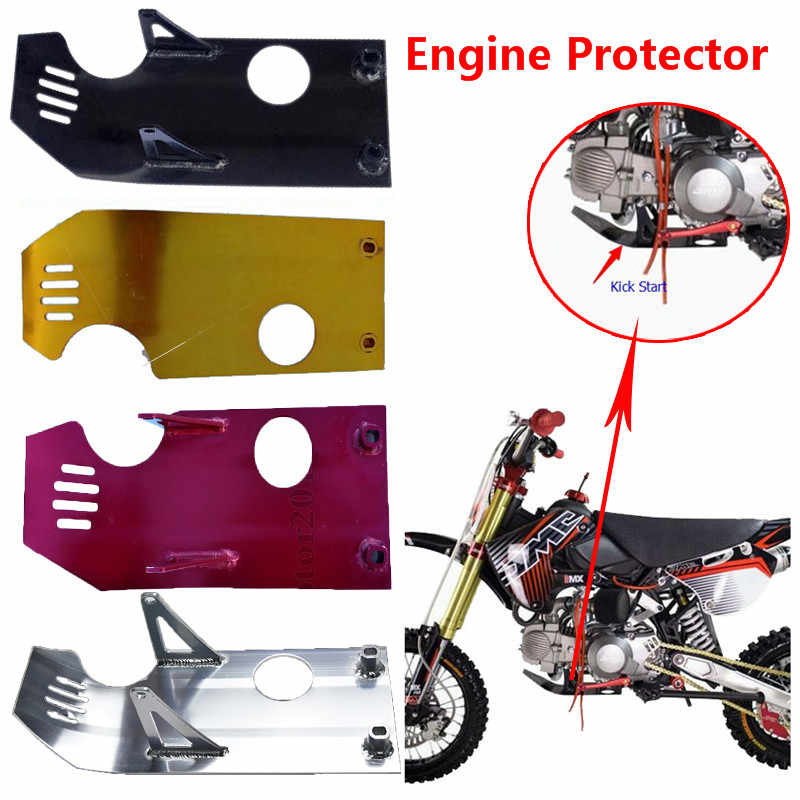 Green PowerMotor Motorcycle Aluminum Parts Skid Plate Lower Start Motor Engine Case Protector fit XR50 CRF50 50cc-140cc Monkey Pit Dirt Bike