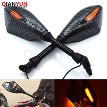 цена на Universal 10 mm motorcycle LED turn signal rear view mirror side mirror for Kawasaki Ninja ZX6R ZX6RR ZX636 ZX7R ZX9R ZX10R ZX14