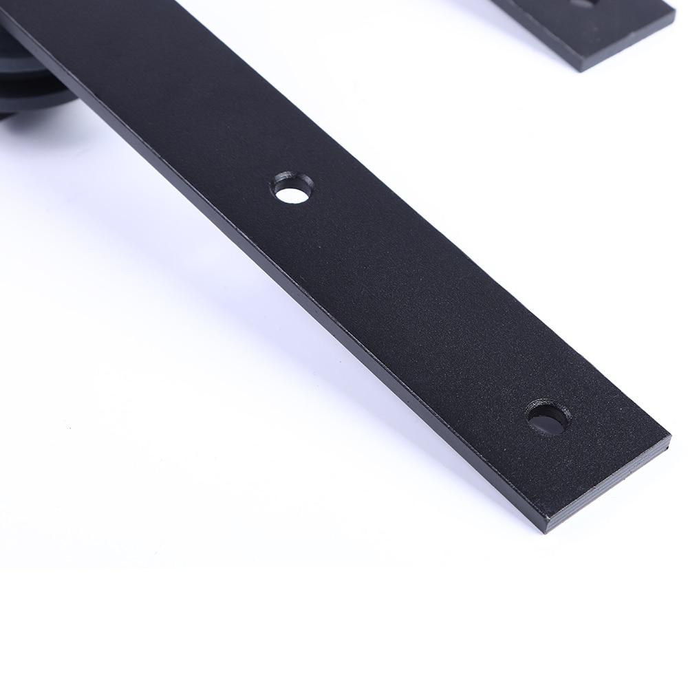 LWZH 16FT/18FT/20FT Black Country Style Steel Sliding Barn Door Hardware Sliding Closet Hardware Kit for Single Door