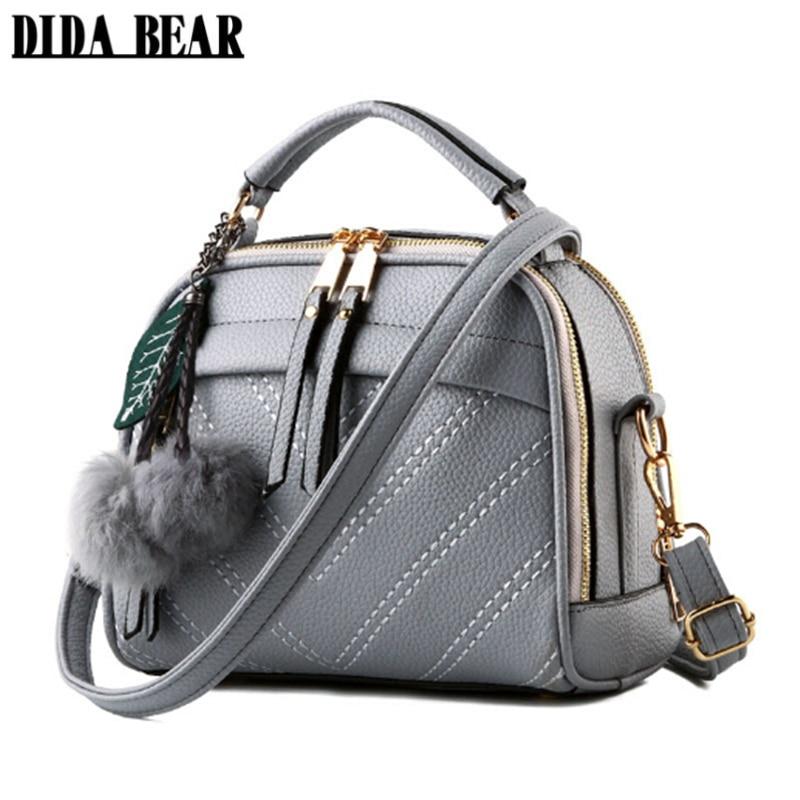 DIDABEAR Brand New women Leather messenger bags lady cute <font><b>handbags</b></font> Girls shoulder bag bolsas Gray Pink Black <font><b>Beige</b></font> Sac A Epaule