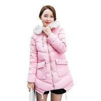 Winter Jacket Women 2018 New Women Parkas Winter Coats Jackets Long Coats Cotton Fur Collar Hooded Female Cotton Outwear CC207