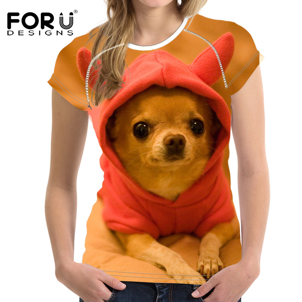 FORUDESIGNS Super Lucu Chihuahua T-shirt Wanita Musim Panas Tops Tees Yorkshire T shirt Wanita Mode bulldog Tshirts Vetement Femme