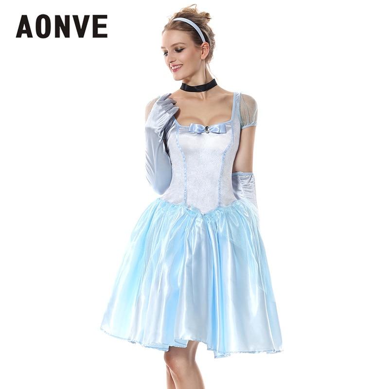 Aonve Anime Princess Cosplay Kawaii Dress Ladies Party Performance Costumes Sky Blue Sweet Vestido Square Collar Women Disfraz