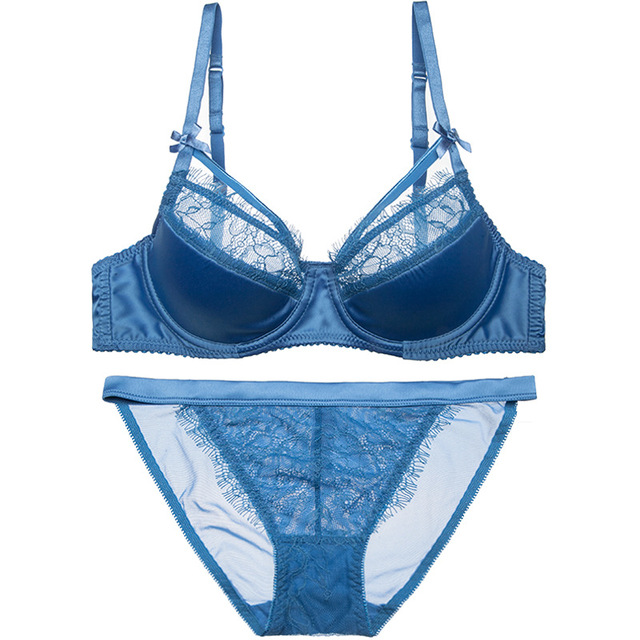 e639c9640a New Luxury Blue Bra Set Women Sexy Eyelash Lace Hollow Out Strappy Satin  Glossy Lingerie Sets Ladies Elegent Underwear Thin ABC