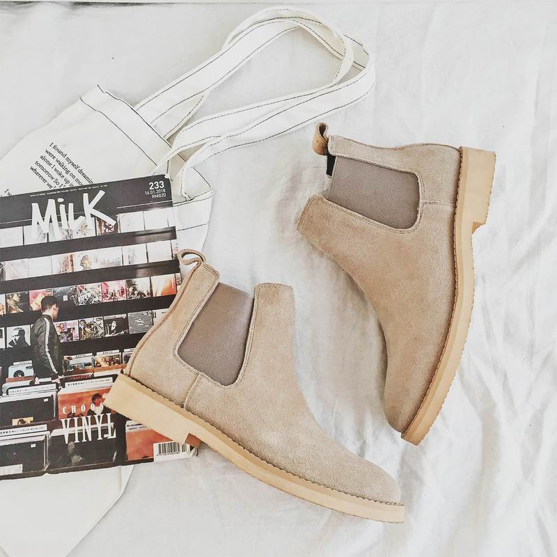 ERRFC Hot Selling Mens Beige Chelsea Boots Fashion Pig Suede Leather Shoes Man Khaki Ankle Boots