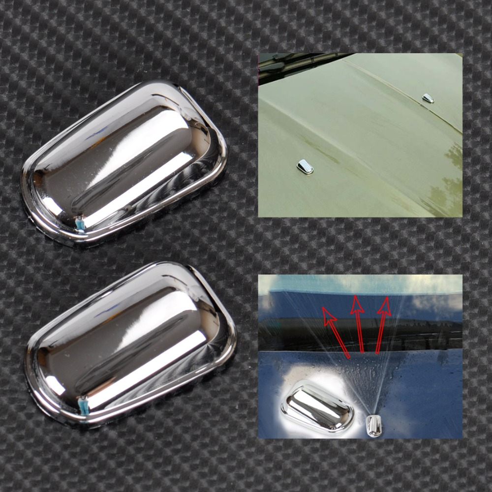 DWCX Car Chrome Windshield Washer Wiper Spray Nozzle Cover Caps For Ford Kuga Escape 2013 2014 Free Shipping & Tracking Number