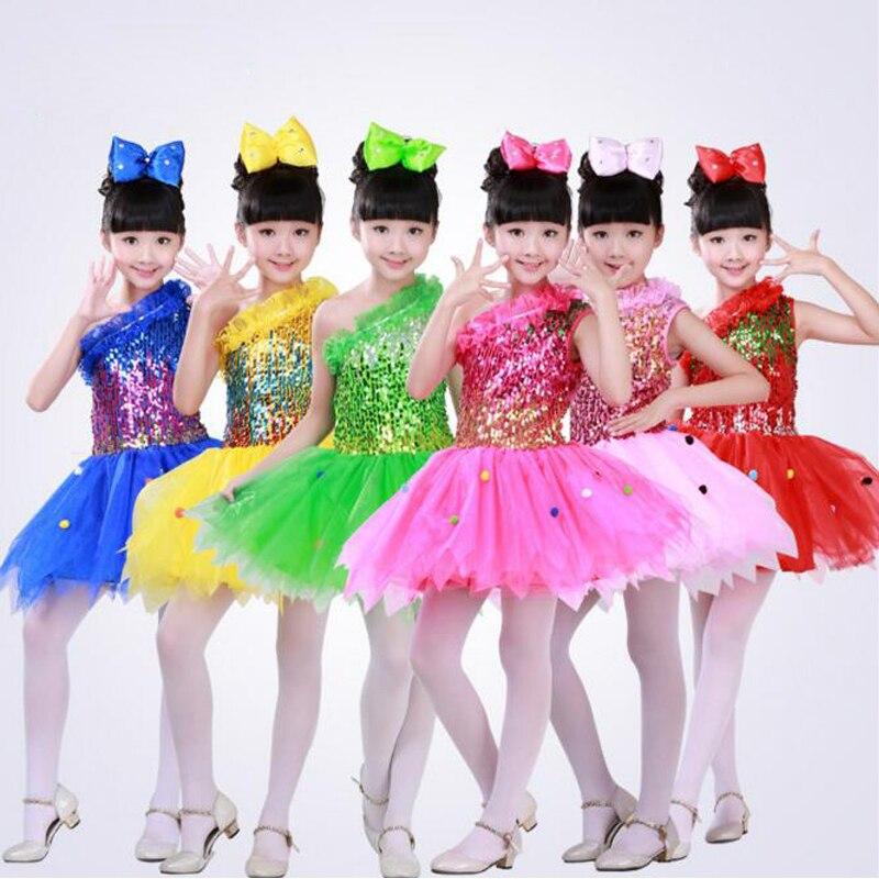 4eb0626e5 Niños Ballet baile vestido de tutú vestido Niñas lentejuelas Salón danza  trajes 110-160