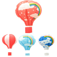 10PCS 12 inch Hot Air Balloon Shape Decoration Paper Lantern Colorful Rainbow Pattern Paper Lamp for Festivel Party