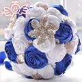 100% real picture Gorgeous Wedding Bridal Bouquets Artificial Wedding Bouquet Crystal With Pearls 2017 buque de noiva WB015