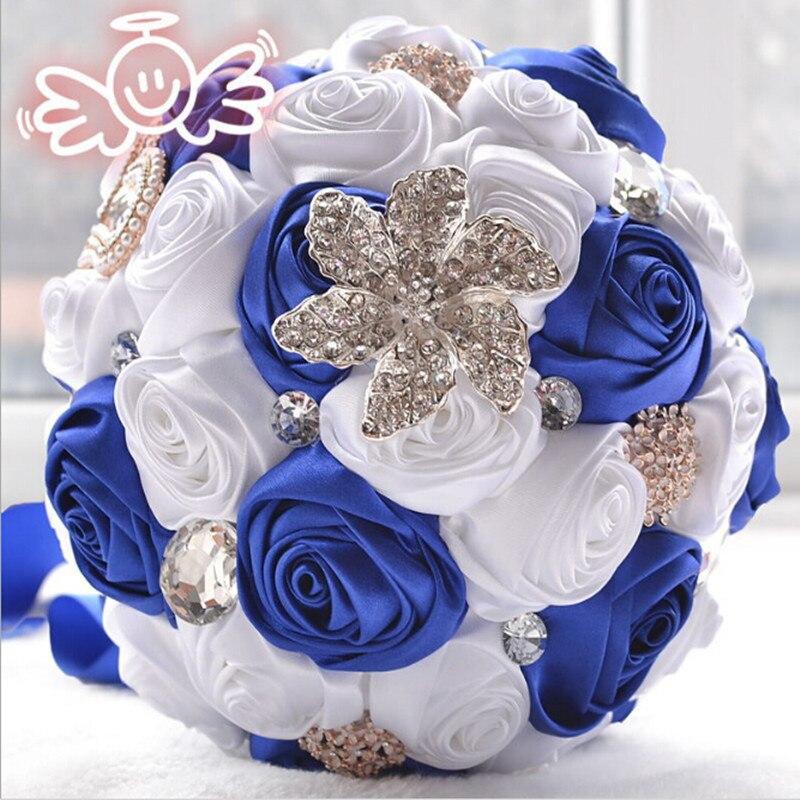 100% Real Picture Gorgeous Wedding Bruidsboeketten Kunstmatige Bruidsboeket Crystal Met Parels 2017 Buque De Noiva Wb015