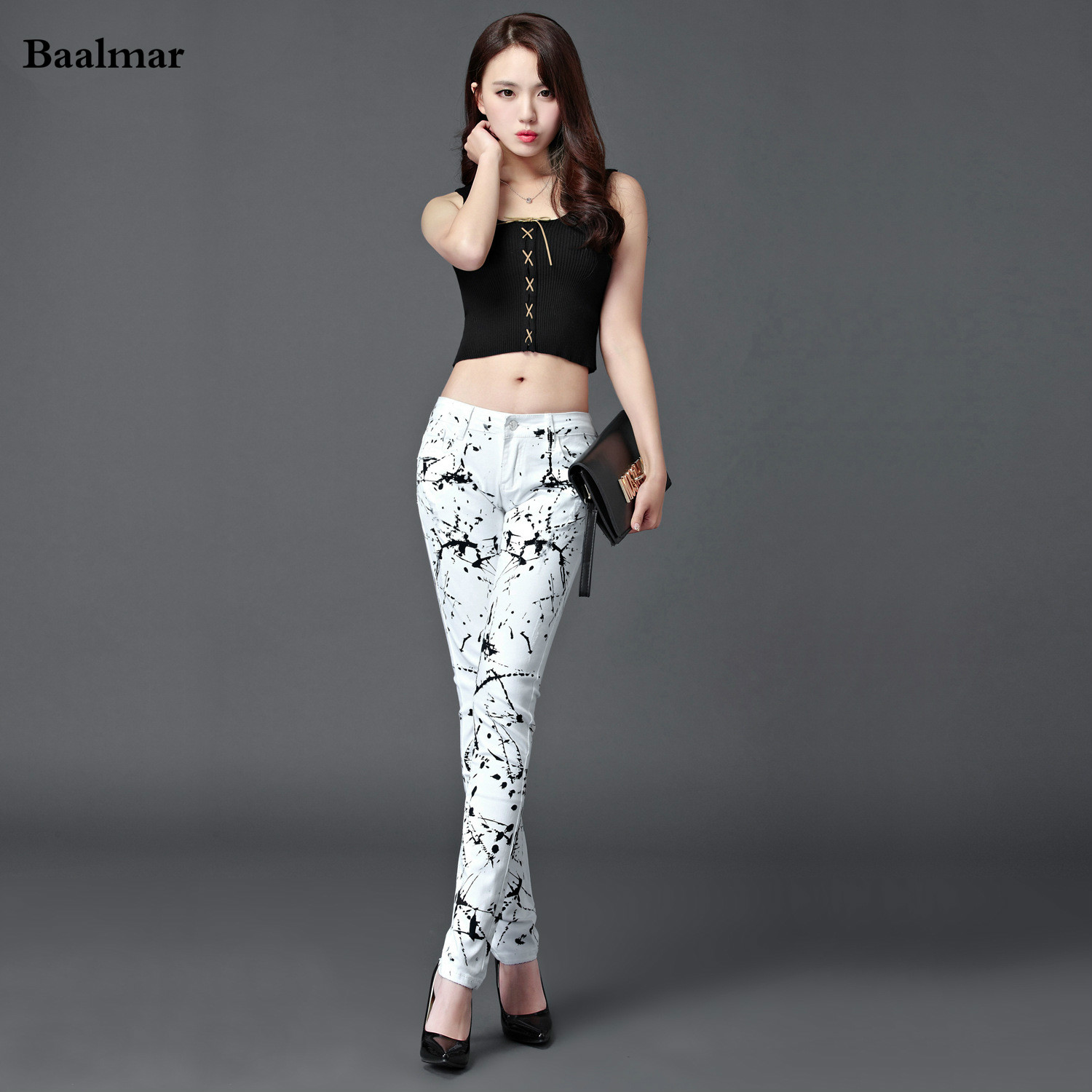 Baalmar 2017 Spring Printing High Quality Woman Jeans White Casual Pants Slim Stretch Jeans Pencil Pants