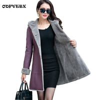 High Quality Winter New Fur One Leather Mid Length Fashion Warm Windbreaker Women Thickened Hooded Leather