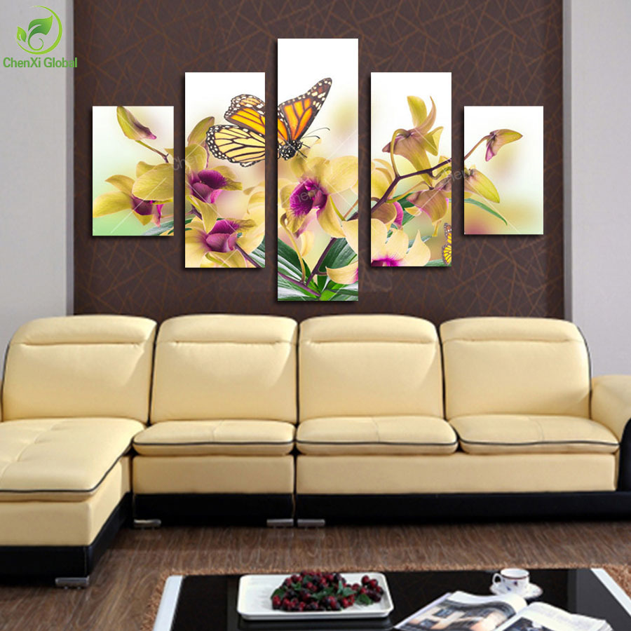 5 Panel Large Modern Flower Butterfly Canvas Painting Cuadros Wall Picture For Living Room High Definition