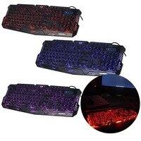 1 pc Ajustável de Crack Vermelho/Roxo/Azul Luz de Fundo LED Pro Gaming Keyboard USB Wired Powered Completa N-chave Para LOL Periféricos de Computador