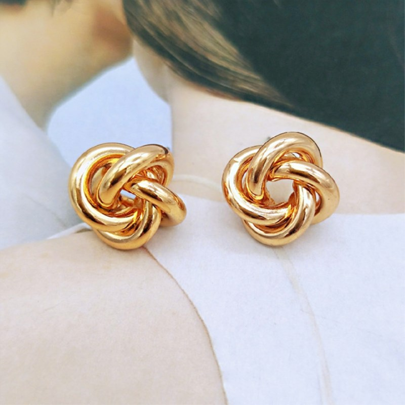 EK2206 New Fashion ZA Gold Metal Stud Earrings For Women Steam Punk Small Windmill Round Design Statement Earring Jewelry Brinco