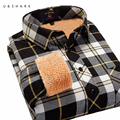 U & SHARK Homens Camisa 2016 Nova Moda Inverno Quente de Lã Longo de manga comprida Preta Camisa Xadrez Casual Masculino Inverno Quente Camisa de Flanela Camisa