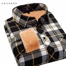 U & SHARK Männer Hemd 2016 Neue Wintermode Fleece Warm hülse Schwarz Kariertes Hemd Männlichen Casual Winter Warme Flanellhemd Camisa