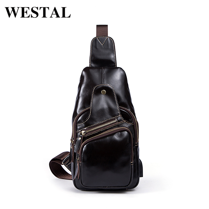 WESTAL Genuine Leather Messenger Bag men's shoulder bags male Sling Bag Leather Casual Silt Pocket Zipper crossbody for men 8123 westal crossbody bags shoulder bag men genuine leather messenger bag zipper cell phone pocket black business small bags 1023