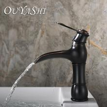 OUYASHI bathroom basin faucet deck mounted water tap single handle hole waterfall undercounter