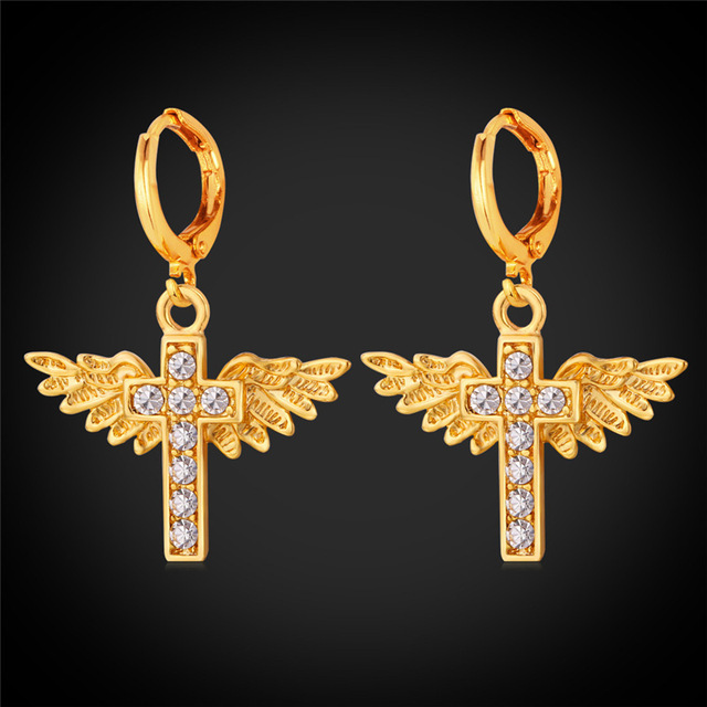 Angel Wings Cross Earrings Yellow Gold Silver Color Rhinestone Women Accessories Jewelry Pure Holy Dropping