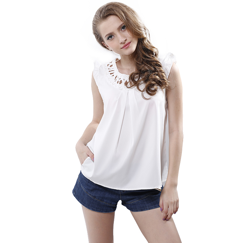 Summer OL Ladies hollow Out Blouse O-neck Sleeveless Solid Round Neck Women Chiffon Blou ...