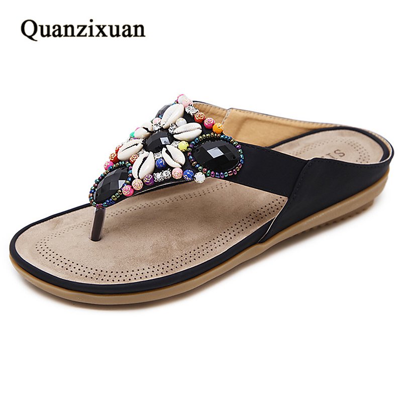 Quanzixuan Summer Sandals Women Slippers Fashion Casual Flat Shoes Slides String Bead Women Shoes Beach Sandals Large Size 44 45