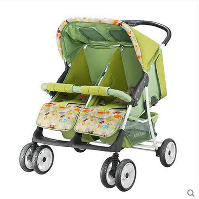 Gêmeos carrinho de bebê gêmeos Do Bebê carrinho duplo carrinho de criança carrinho de bebê super suspensão portabilidade de carrinhos de gêmeos