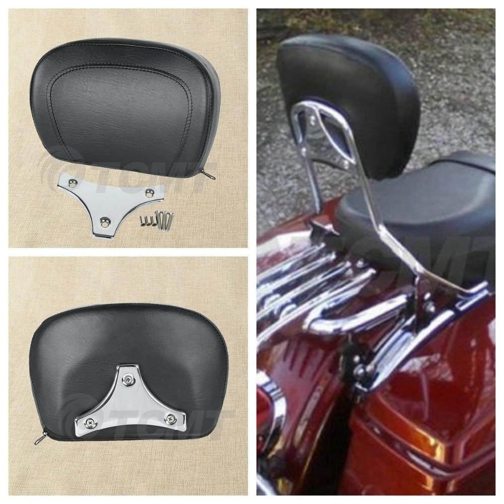 Motorcycle Sissy Bar Passenger Backrest Pad For Harley Touring Street Electra Glide FLHX FLHTCU 97-18 11 12 13