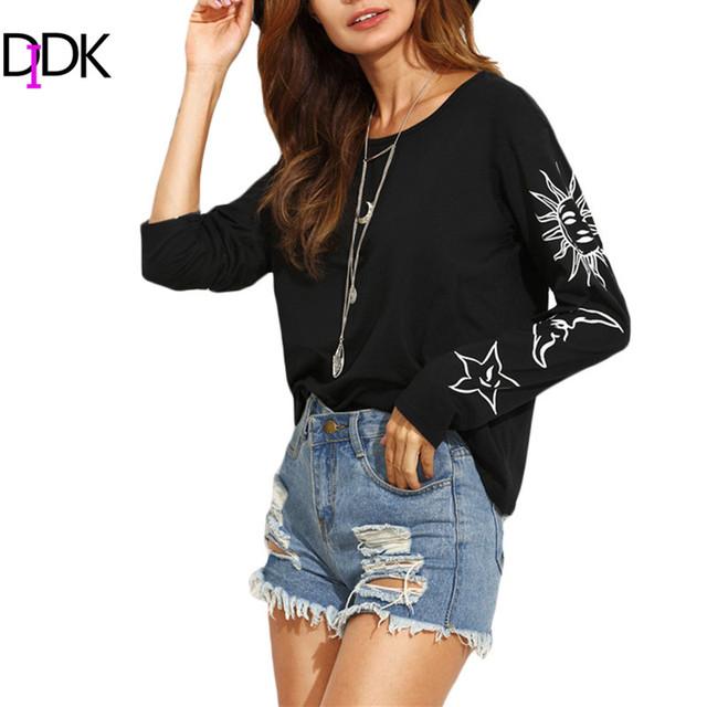 DIDK Mujer Camiseta de Algodón Tops Nueva Llegada Del Otoño 2016 Ladies Negro Impreso Cuello Redondo de Manga Larga Camiseta Ocasional