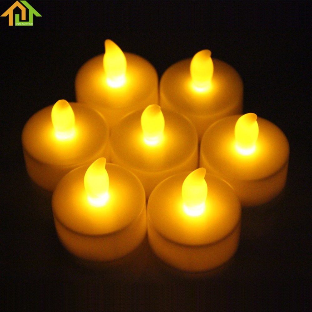 12Pcs LED Warm White & Yellow Flickering Tealight Electronic Candles Lights with Button  ...