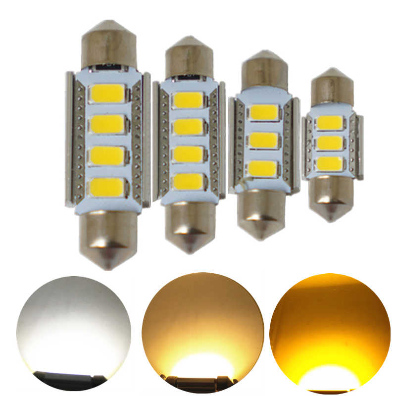 JGAUT 1PCS Warm White Yellow Canbus C5W 31mm 36mm 39mm 41mm 5730-SMD LED Festoon Bulbs Car Interior Map Dome License Plate Light
