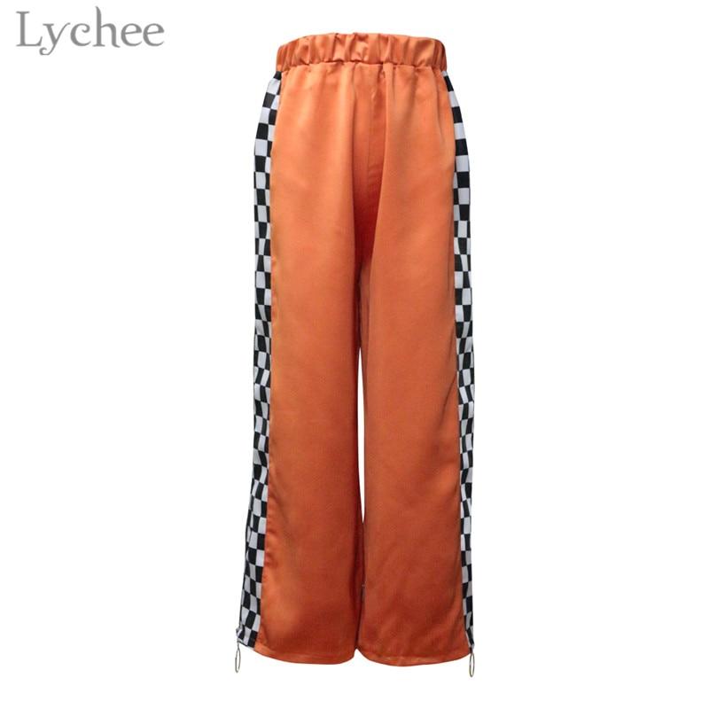 Lychee Harajuku Plaid Patchwork Side Zipper Women Pants Elastic Waist Casual Loose Harem Trousers Full Length Wide Leg Pants