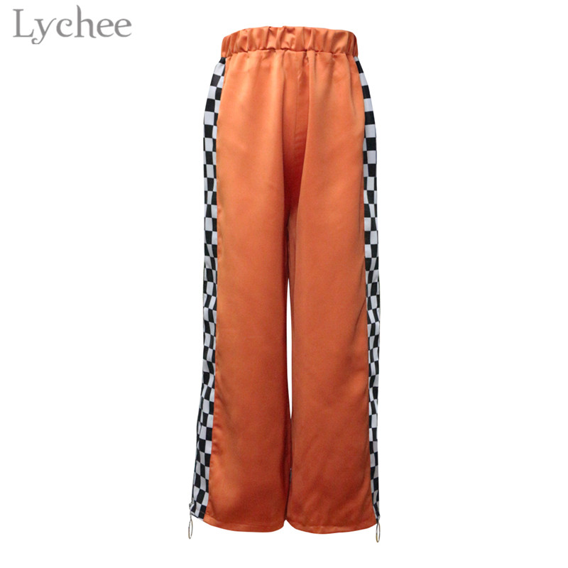 Lychee Harajuku Plaid Patchwork Side Zipper Women   Pants   Elastic Waist Casual Loose Harem Trousers Full Length   Wide     Leg     Pants