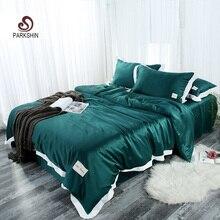 ParkShin Luxury Euro Bedding Set 100% Silk Comforter Duvet Cover Silky Bedspread Bed Sheet Set Queen King Adult Bed Linen Set татуировка элегантные брюки для белья классическая элегантная стерео вышивка dudou silk adult duck set