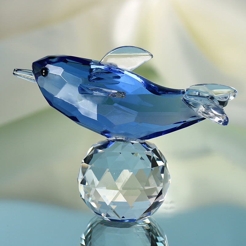 Glass Crystal Blue Dolphin Figurines with Crystal Ball  Paperweight Crafts Collection Table Car Souvenir Home Wedding Decoration (6)